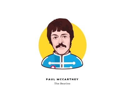 Sgt. Pepper at 50 - Paul McCartney portrait cartoon psychedelic man illustration character face sgt peppers music the beatles paul mccartney