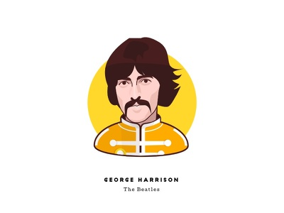Sgt. Pepper at 50 - George Harrison george harrison the beatles music sgt peppers face character illustration man psychedelic cartoon portrait