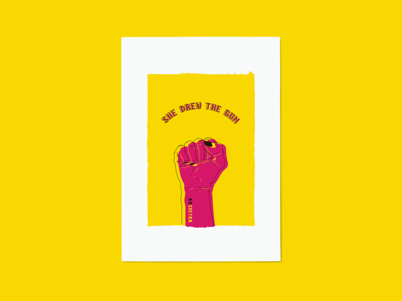 She Drew The Gun Artwork: Yellow photoshop screen print poster fingers help psychadelic line power nails pink yellow hand fist protest design liverpool uk print music illustration