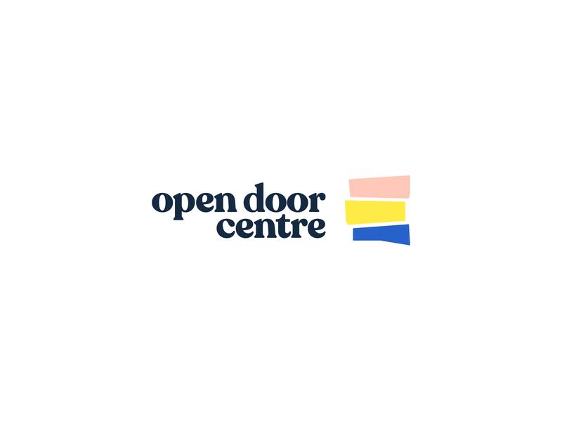Open Door Centre Logo logomark logotype stripes liverpool abstract mark symbolism design mental health door charity map typography type symbol icon branding idenity brand logo