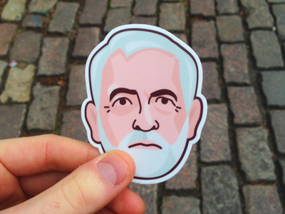 Labour Party: 2019 vector illustration liverpool socialism corbyn man face sticker politics uk tory election labour