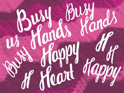 Wip Busyhands vector script lettering knitting digital analog digitization process