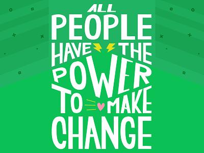 GoFundMe Giving Report: People Power branding illustration typography heart brand green lightning bolt pen tool vector illustrator hand lettering