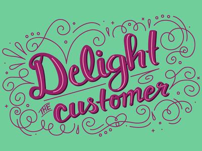 GoFundMe Giving Report: Delight the customer script swash illustration brand branding vector decorative type hand lettering illustrator