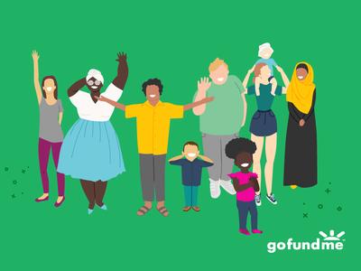 GoFundMe: Welcome to our community body diversity diversity hijabi children women fashion women people identity branding vector illustration