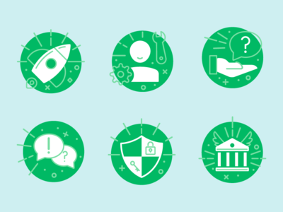 GoFundMe Help Center icons safety  security common issues donor questions money management account management getting started vector design branding icon illustration