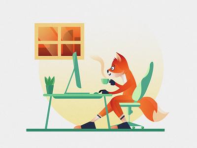 Study fox fox fox illustration study office