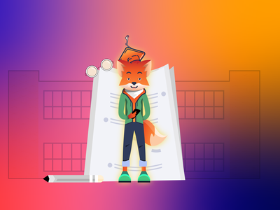 School vector school project fox illustration illustrator fox remote online student school
