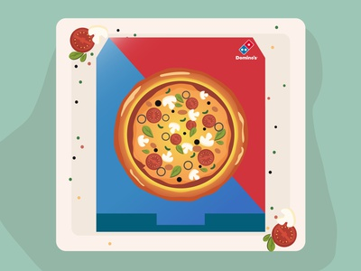 Pizza box Design branding illustration adobe illustrator vector illustrator dominos pizza logo pizzabox design pizza