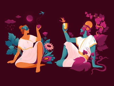 Ariadne and Dionysus mythology vector illustrator summer wine womenwhodraw digitalart character illustration design illustration wine branding wine label