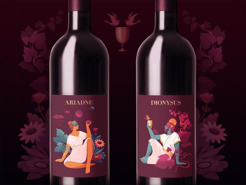 Mythology Wine illustrator wine label wine bottle digitalart womenwhodraw character packaging illustration branding greek myth mythology wine label illustration