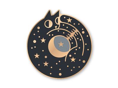 Cosmiccatpin 01 ouroboros cosmic cat enamelpin