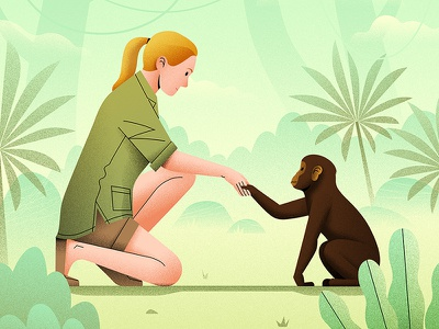 Jane Goodall character illustration jungle exploration primates chimpanzee janegoodall