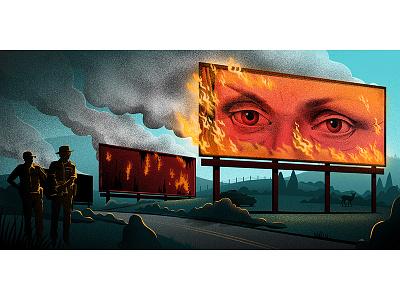 3 billboards outside Ebbing, Missouri illustrator editorial fire billboards photoshop film movie illustration