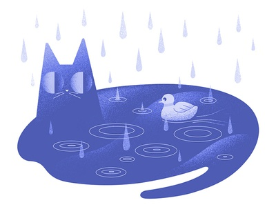 Cat puddle monochrome design animation 100days illustrator vectors photoshop rain cats characterdesign illustration 100dayproject