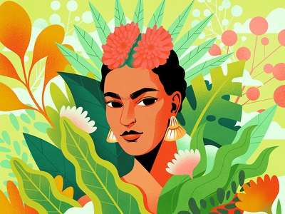 Frida Kahlo colourful plants jungle creativewomen womenwhodraw womeninillustration vector digitalart illustration portrait fridakahlo