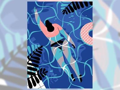 Night Swimmer digitalart summer swimming womeninanimation womeninillustration character vectors illustration