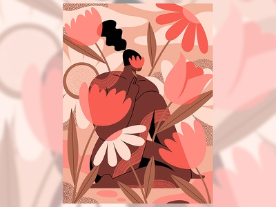 Lady in the Flowers animation nature digitalillustration vectors flowers woman womenwhodraw illustration