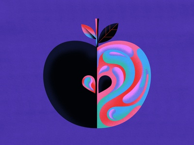Enchanted Fruit personalwork fruit digitalart yownw apple yinyang colourful graphic vector illustrator illustration