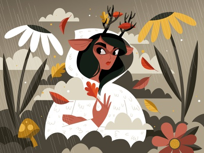 Deer girl digitalart illustrator woods nature autumn creativewomen womenwhodraw vectorart character illustration drawthisinyourstyle