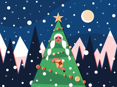 Happy holidays! forest womeninillustration womeninanimation womenwhodraw vectors character illustrator winter snow xmastree illustration xmas holidays