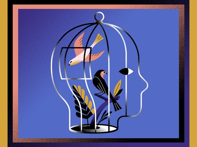 January blue vector conceptual illustration personalwork yownw birdcage bird concept illustrator illustration