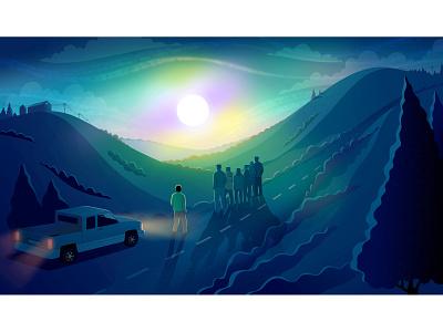 Longreads - The Real Danger on the Promenade landscape night longreads illustrator digital art science fiction digital illustration editorial illustration illustration