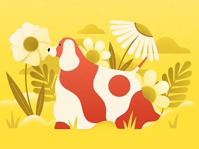 Dog Days of Summer plants animals designer pets sunshine summer vector art animation illustrator character dog illustration