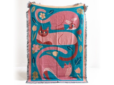 Three Cats Throw textiles product cosy blanket nature leaves flowers cats cat illustrated goods illustration soft furnishing interior decor designart design throw