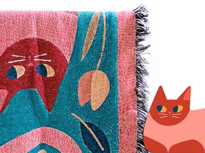 Three Cats Throw illustrator illustration design art woven fall leaves flower cat vector art illustrated products interiors throw blanket