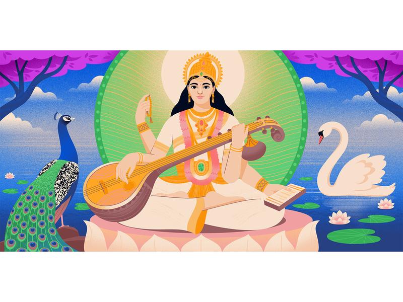 Goddess Saraswati for Medium digitalart womenwhodraw editorial illustration art illustrator medium goddess editorial art illustration