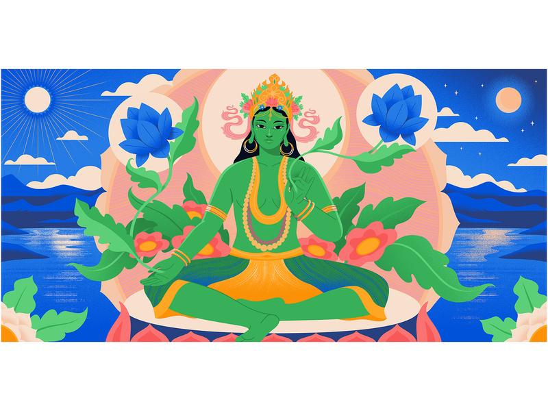 Goddess GreenTara for Medium lotus flowers landscape editorial medium goddess illustrator illustration art editorial illustration