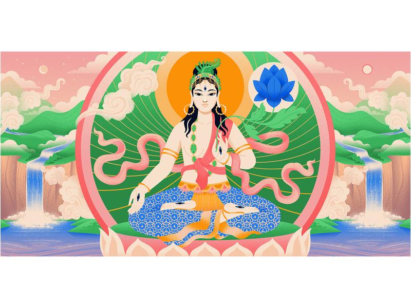 Goddess WhiteTara for Medium illustration lotus digital illustration vector art illustration artist editorial illustrator goddess
