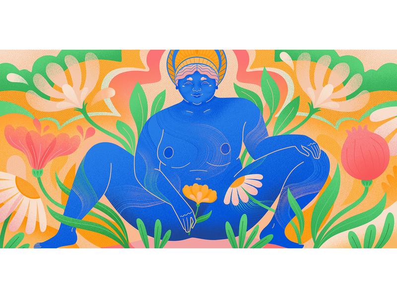 Goddess Baubo for Medium womenwhodraw contemporary illustration flowers vectorart illustration art baubo goddess editorial illustrator editorial illustration