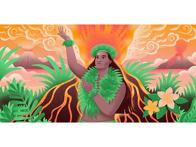Goddess Pele for Medium nature hawaiian hawaii volcano digital art women in illustration women empowerment women illustrator illustration editorial art