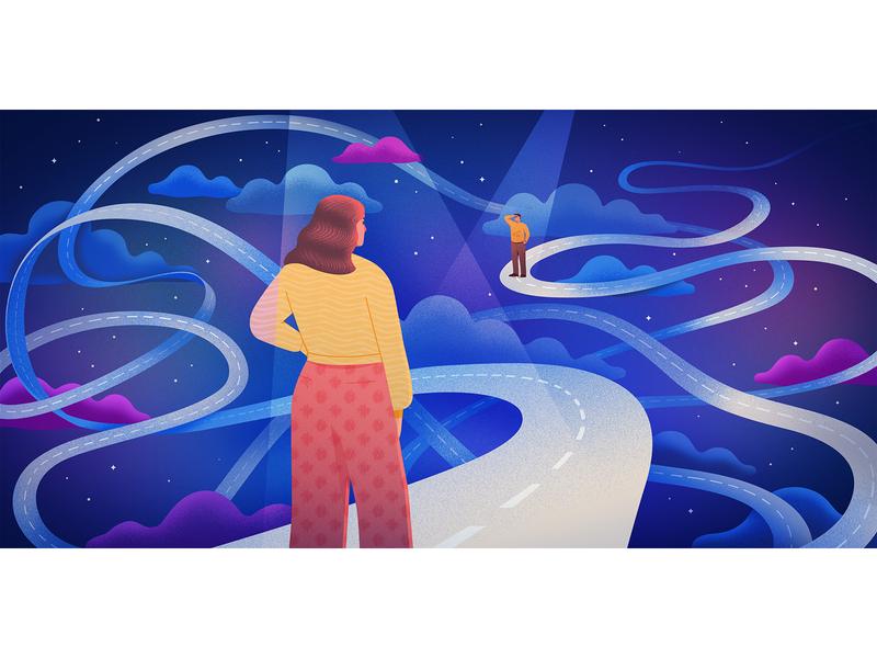 Love & Tenure for Medium vector art contemporary illustration digital illustration longdistance relationships illustration illustrator editorial illustrator editorial art