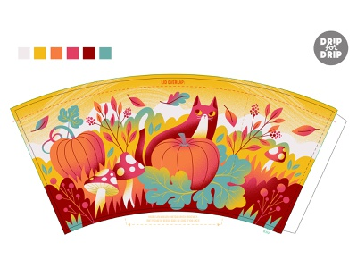 Drip For Drip coffee cup wrap fall leaves pumpkins toadstools cat autumn template design art coffee cup art cup design illustrator illustration