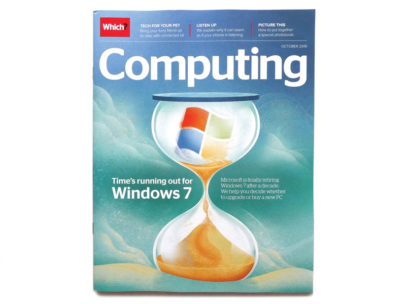 Which? Magazine - cover for Computing digital art contemporary illustration sand hour glass time concept editorial illustrator windows computing technology magazine cover illustration