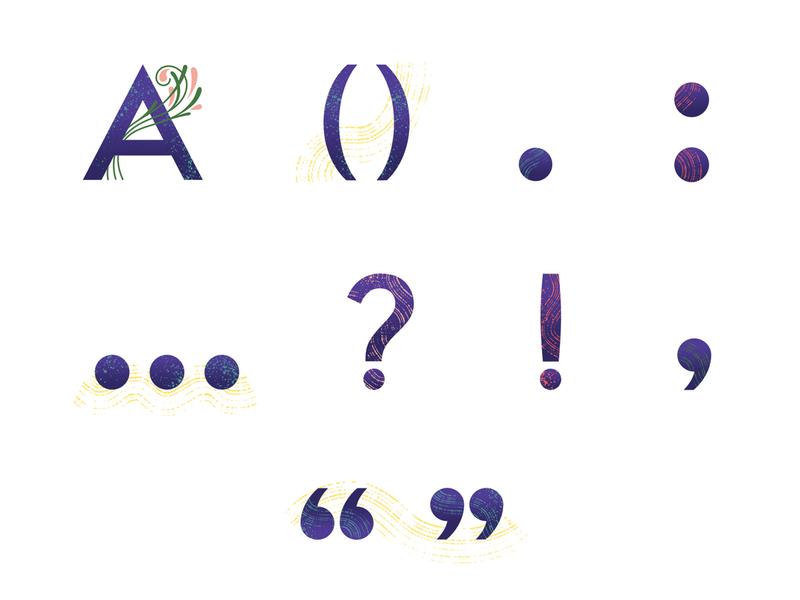 Illustrated punctuation for Breathe magazine digital illustration vectors editorial illustration illustrated type punctuation
