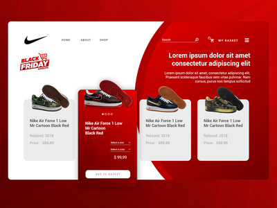 Website UX/UI - Nike Air Force app website web ux vector logo ui design web desgin ui design ui desgin logo design illustration digital art ux design branding web design uiux graphic design