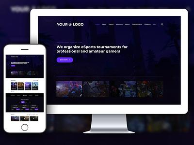 Website Mockup Template – Gaming Website – Violet – PSD Template design ux design logo illustration uiux logo design digital art branding web design graphic design