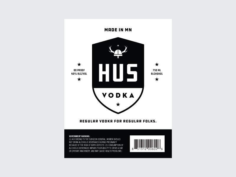 HUS 2 identity logo vodka booze label