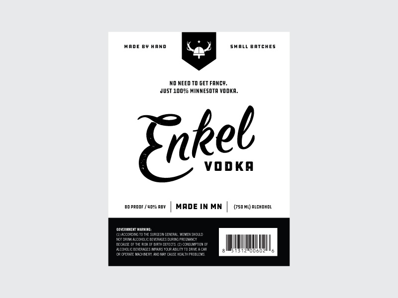 Enkel identity logo vodka booze label