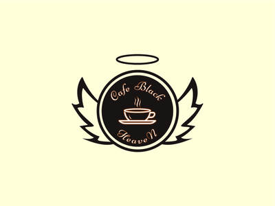 Cafe Black Heaven restaurant design flat vector graphicdesign minimal branding logo