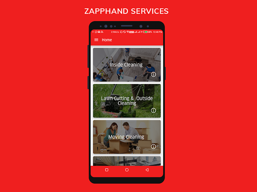 Zapphand - Cleaning Service Mobile App ui  ux design mobile app development app design mobile app mobile app design cleaning service mobile app