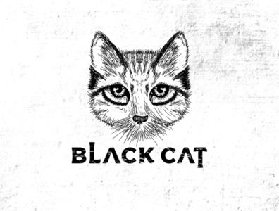 Black Cat hungry cat hand drawing logo cat hand drawing cat handmade cat logo black cat cat