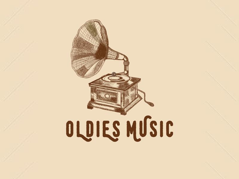 Oldies Music brush music logo entertainment logo madehand logo old music logo oldies music logo oldies music music logo