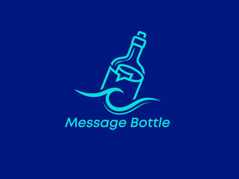 Message Bottle ! creative logo branding logo branding bottle message logo bottle message sea bottle logo sea message logo message logo message bottle logo chat bottle message bottle