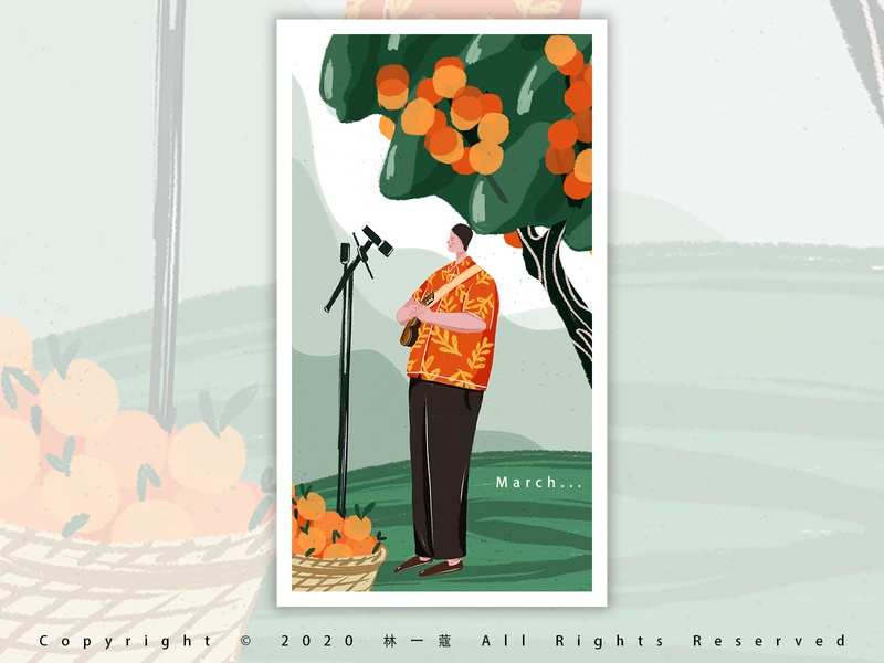 sing a song painting march green oranges springtime illustration