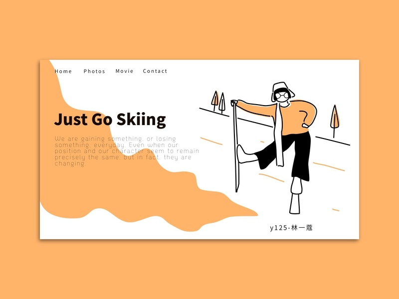 sports landing page skiing sports illustration